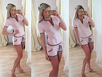 Женский повседневный костюм: футболка с молнией и шорты (3 цвета)