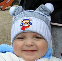 Детская тонкая вязанная шапка Ушки для мальчика 6-18мес