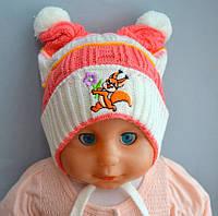 Детская тонкая вязанная шапка Ушки для девочки 6-18мес