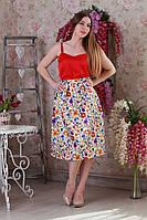 Молодежное платье с красным верхом