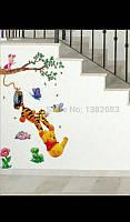 Интерьерные виниловые наклейки мультфильмы для детской комнаты тигр дерево мишка 51*90 см
