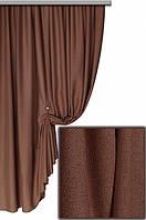 Ткань плотная для пошива портьер Лен Олимпия коричневый