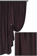 Ткань портьерная с фактурой лен Янина венге