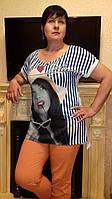 Летняя футболка-двойка больших размеров( шифон+вискоза)