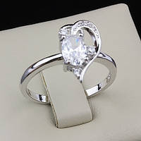 003-0018 - Романтичное кольцо родий сердце с прозрачными фианитами, 19.5 р.
