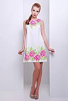 Белое платье. Классическое белое платье c цветами. Платье мини. Платье лето 2016.