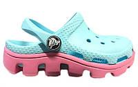 Сандалии детские Crocs (кроксы, шлепки) резиновые голубые