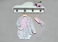 Комплект детский для девочки боди и повязка