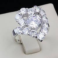 R1-0251 - Шикарное кольцо с родиевым покрытием и прозрачными фианитами, 18, 19 р.