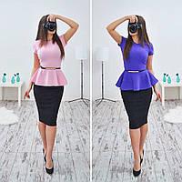 Женский стильный костюм:Блуза+ юбка с баской и пояском