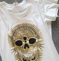 """Женская белая футболка с черепом """"PHILIPP PLEIN"""""""