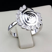 R6-0007 - Необычное кольцо родий с листочкими и прозрачными фианитами, 18, 19 р.