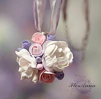 """""""Воздушный пурпур"""" кулон/подвеска ручной работы с цветами из полимерной глины"""