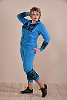 Женский модный синий спортивный костюм больших размеров (рр 42-74)