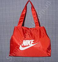 Cумка Nike 113983 красная с белой эмблемой тканевая женская спортивная на змейке размер: 40см х 28см х 15см
