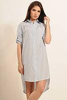 Классическое  платье-рубашка в клеточку Голубое