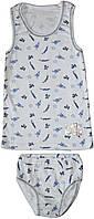 Комплект нижнего белья для мальчика, майка и трусы, цвет белый с рисунком, рост 134/140 см, Фламинго