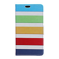 Чехол книжка для LG Spirit Y70 H422 боковой с отсеком для визиток, Разноцветные полоски