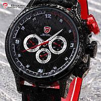 Мужские наручные часы SHARK Date Day Display Black Leather Strap Quartz Men Sport Wrist Watch