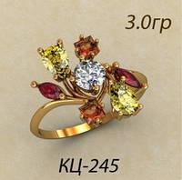 Необычное женское Золотое кольцо 585 *с разным цветом камней