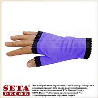 Фиолетовые женские перчатки-митенки атласные короткие без пальчиков