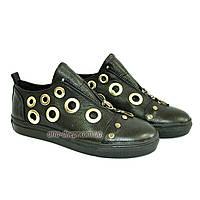 Женские кожаные туфли на утолщенной подошве, декорированы люверсами. , фото 1