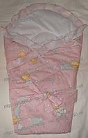Летний конверт-одеяло на выписку, верх и подкладка - хлопок, наполнение синтепон