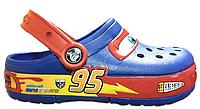 Детские кроксы Crocs Cars светящиеся синие