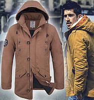 Куртка осенняя мужская парка - 4009 бежевый
