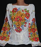 Оригинальная женская вышиванка в подсолнухах