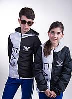 """Подростковая куртка """"Armani"""" чёрно-белая с фотопечатью, турецкая плащёвка (девочка, мальчик). Арт-5479/44"""