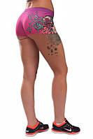 Женские шорты для занятие спортом фиолетовые с принтом PERIL BEAUTY