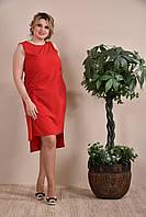 Модное летнее платье больших размеров (рр 42-74) красное
