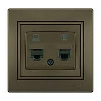 MIRA Розетка комп'ютер + телефон світло-коричневий перламутр со вставкой Lezard (701-3131-143)