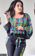 Оригинальный женский брючный костюм со свободной кофтой и яркими вставками стрейч коттон штапель батал