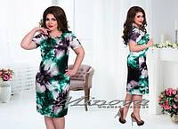 Летнее платье на коротком рукаве стрейч-атлас в цветы Размеры 50,52,54,56