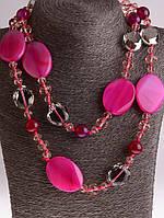Красивые женские бусы из агата, розовый бусы из натурального камня агат 54 см, код украшения: 018240 классические