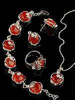 Украшения Сердолик камень набор: кольцо, подвеска, серьги и браслет в металле, Код: 012884 кольцо 15-20 регулируемое