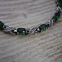 Фантастический серебряный женский браслет с зелеными фианитами, 195мм