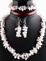Украшения с розовым кварцем: бусы, браслет, серьги Розовый кварц натуральный камень, браслет 17 см, 50 см Код: 024346