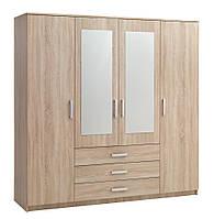 Шкаф 4-х дверный + 3 ящика с двумя зеркалами (цвет дуб)