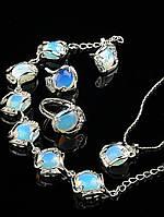 Украшения из лунного камня: набор-комплект серьги, кольцо, браслет, подвеска с лунным камнем (им) Код: 015744 кольцо 15-20 р.