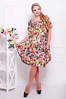 Платье в цветы свободного покроя с юбкой-тюльпаном размеры 52 54 56 58 60