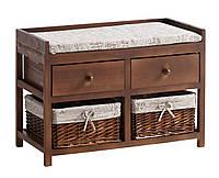 Банкетка коричневая в прихожую с ящиками