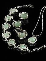 Украшения из нефрита. Набор-комплект бижутерии с натуральным камнем нефрит Код: 012872 кольцо 15-20 регулируемое