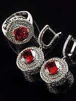 Комплект ювелирный Фианит красный, в белых стразах покрытие родий Код: 024821 18 размер кольца