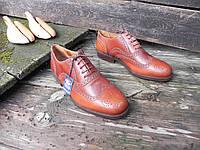 Кожаные мужские туфли броги Geox, 46 размер 31 см. по стельке