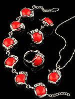 Набор-комплект бижутерии с камнем коралл искусственный Код: 012875 кольцо 15-20 регулируемое