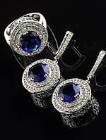Серьги 19х19 мм в комплекте с кольцом Фианит синий, форма круг, покрытие родий Код: 024816 17 р