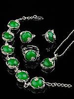 Украшения с хризопразом. Подвеска, серьги, кольцо, браслет с камнем хризопраз 46 см Код: 015751 кольцо 15-20 регулируемое